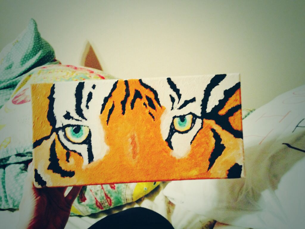 Easy Painting I Got The Eye Of The Tiger Tiger Eyes Painting Acrylic Canvas Diy