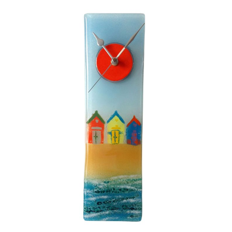 ROW OF BEACH HUTS FUSED GLASS WALL CLOCK FUSED GLASS CLOCKS