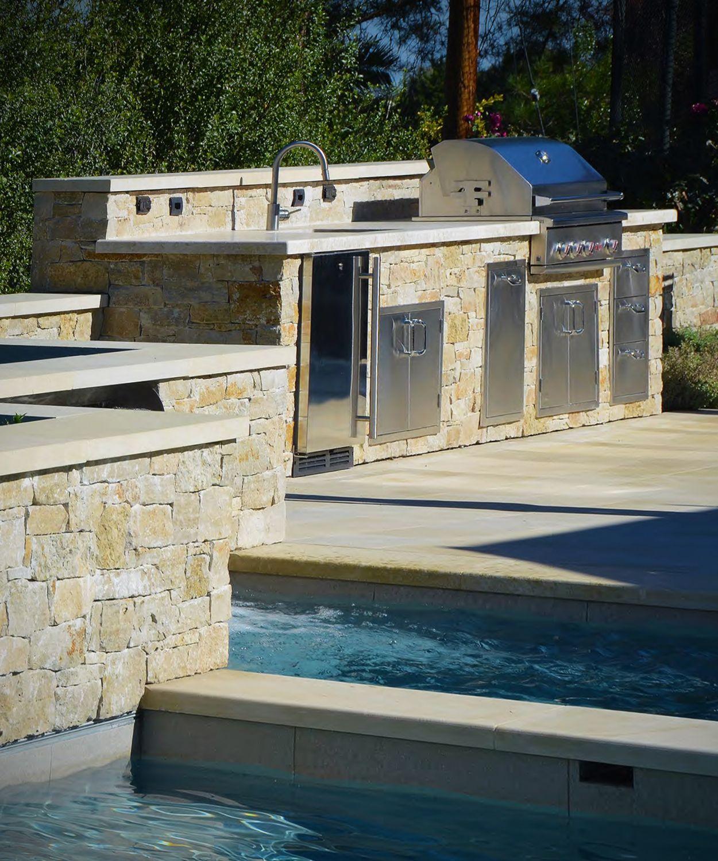 Poolside Rustic Exterior Veneer Stone Wall, Fire Pit ...