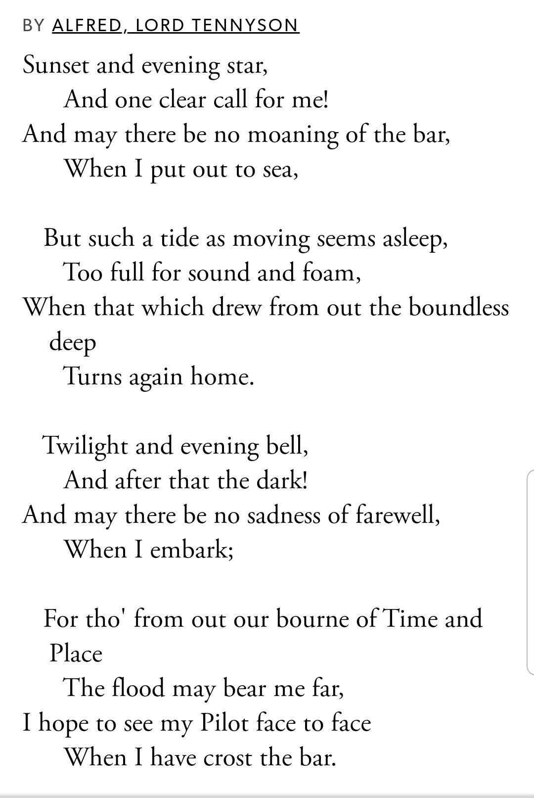 Crossing The Bar By Alfred Lord Tennyson Poetry Lord Tide