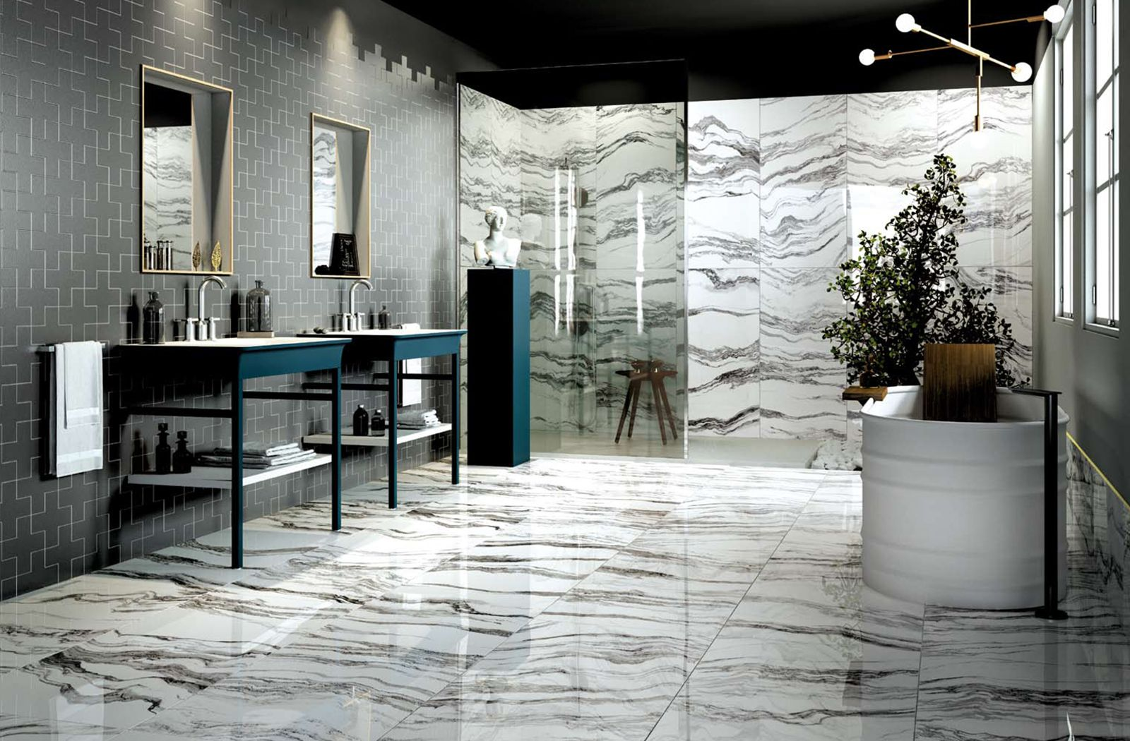Elegant and luxurious bathroom interior with marble like