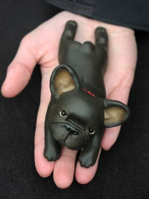 French Bulldog Works Frenchie Sculpture Polymer clay