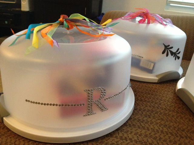 Homemade Gifts Cake Carriers Rhinestone Decals And Ribbon From