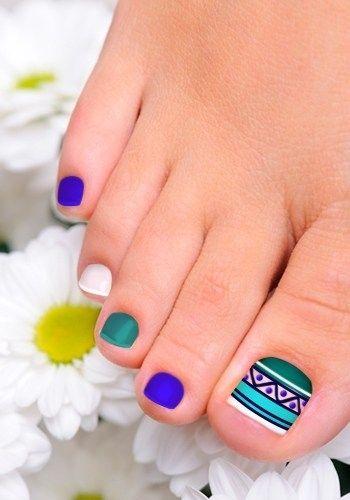 Blue White Purple Toenail Art Design Nail Art Pinterest