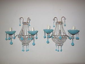 c-1920-French-Empire-Blue-Opaline-Bobeches-Drops-Beaded-Prisms-Crystal-Sconces