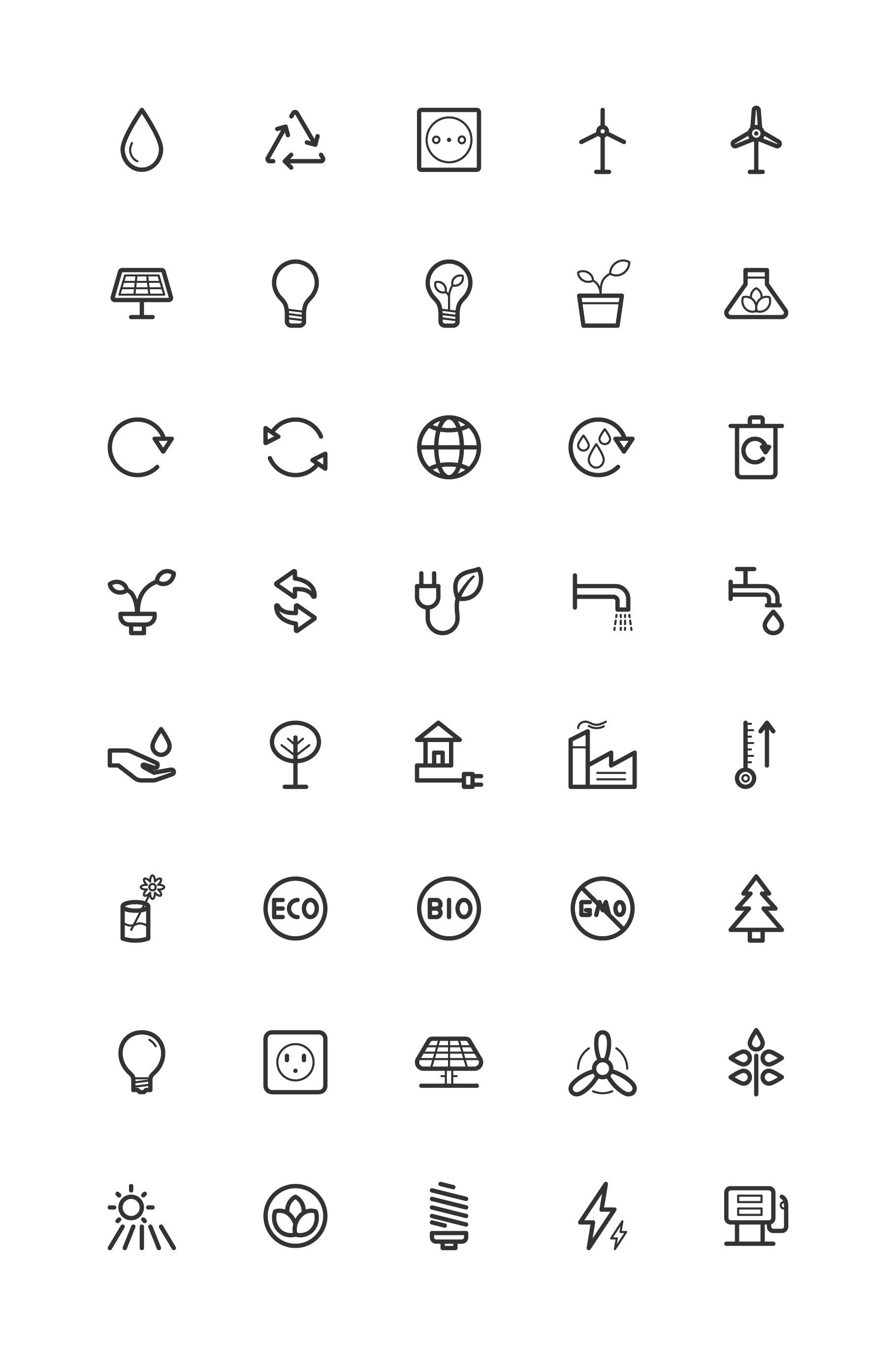 Ecology & Earth Line Icons by Dreamstale on