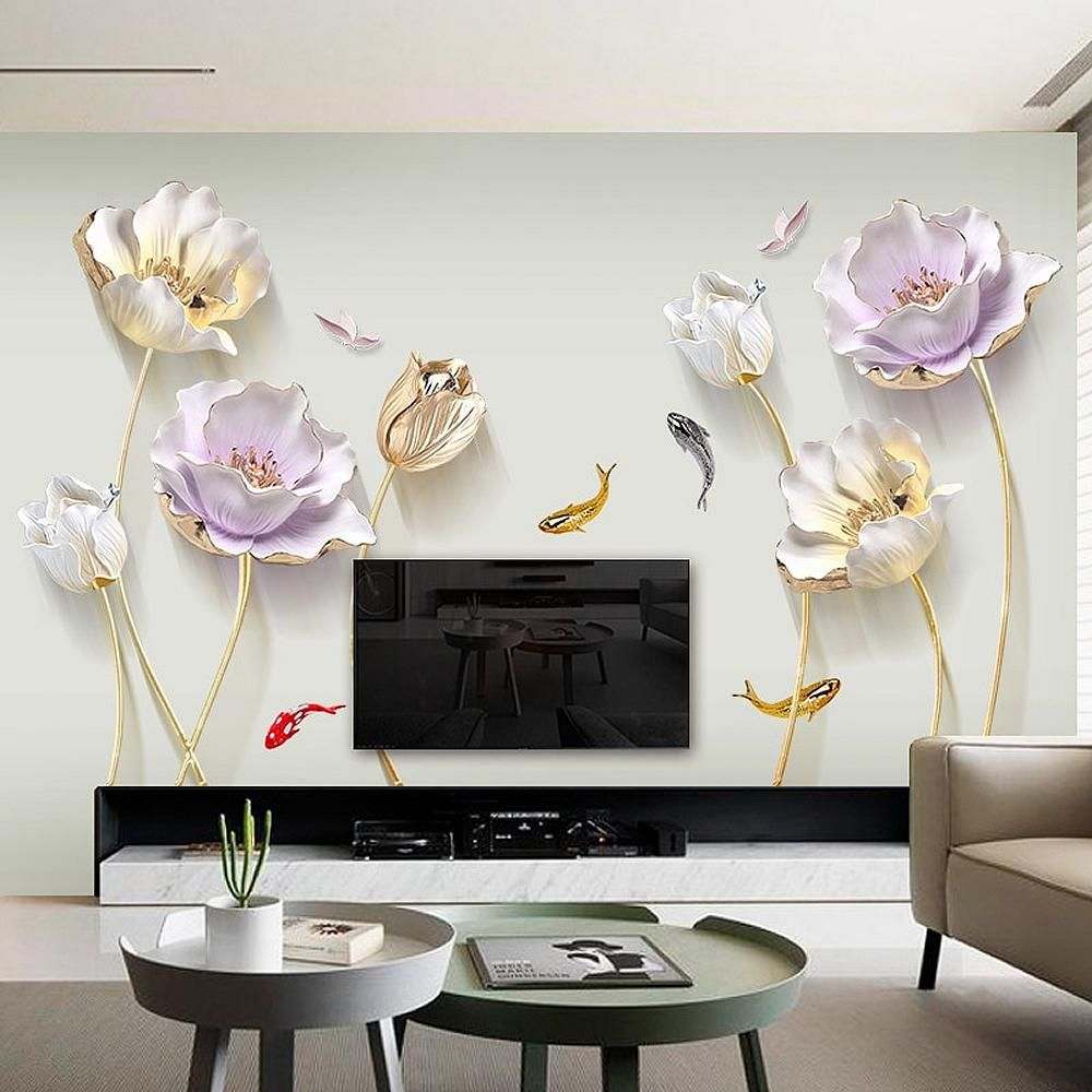 Dazzling Flowers & Fish Wall Sticker As Japanese koi