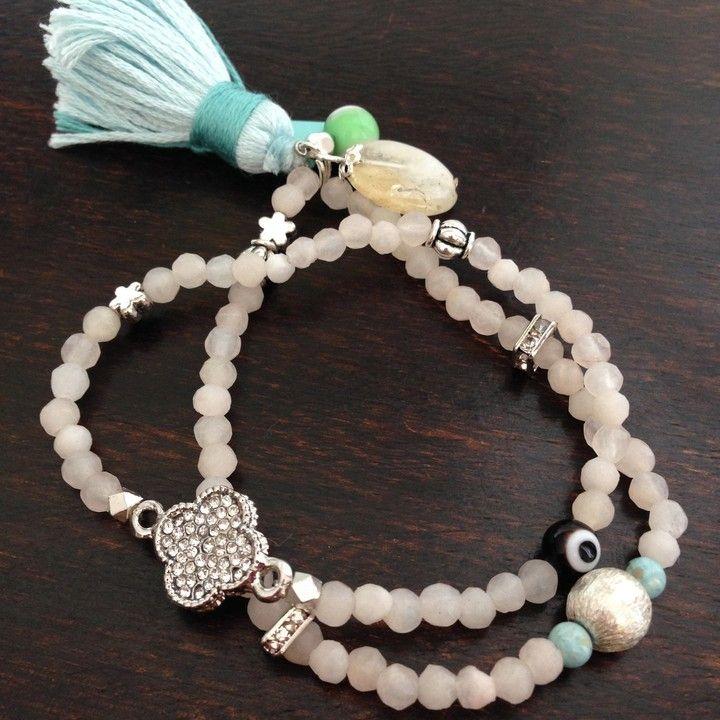 Agate and lucky eye bracelet set from Lakshmi Custom Jewelry for $32.00