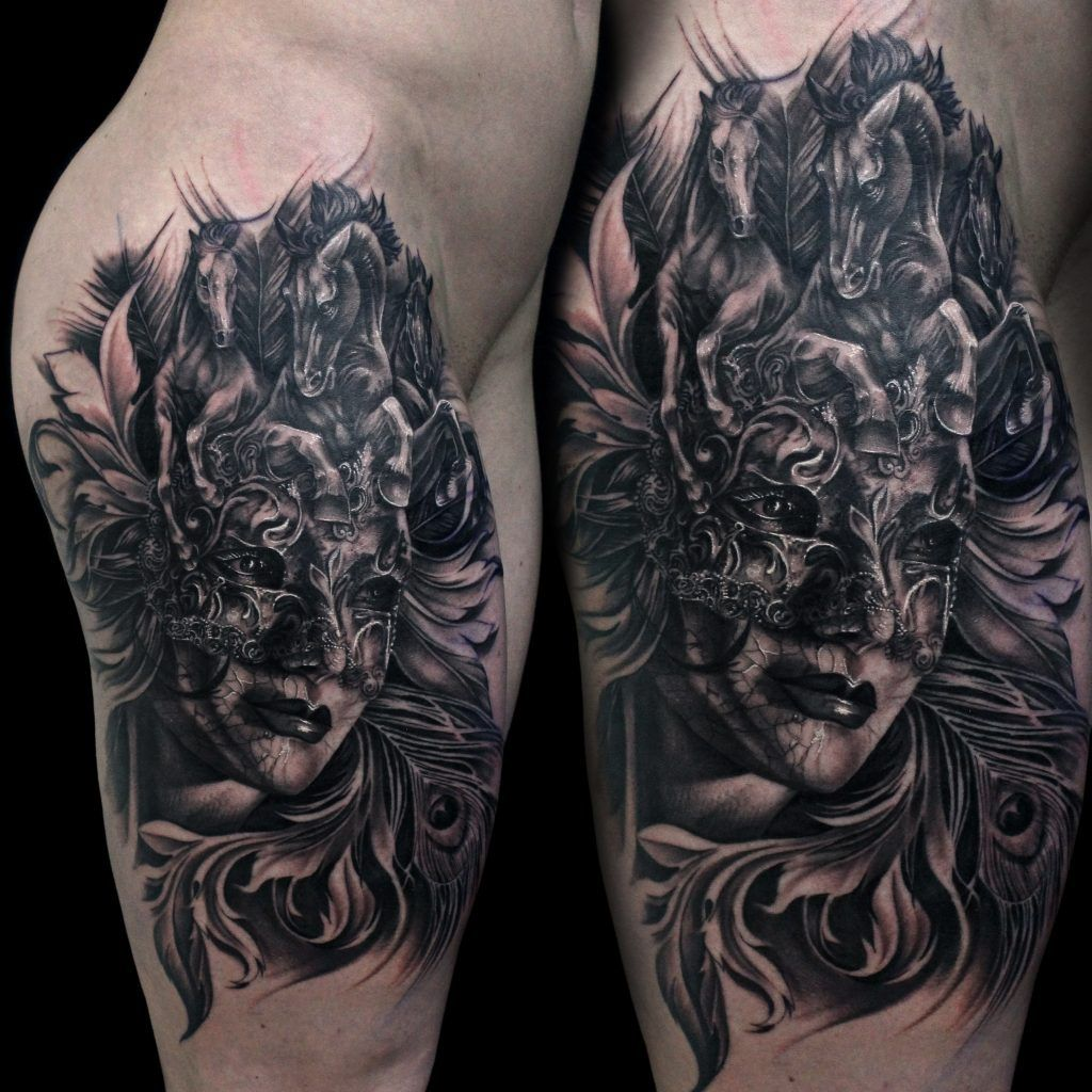Lion Morph Tattoo: Venetian Mask Morph Tattoo #tattoo #tattoos #blackandgrey