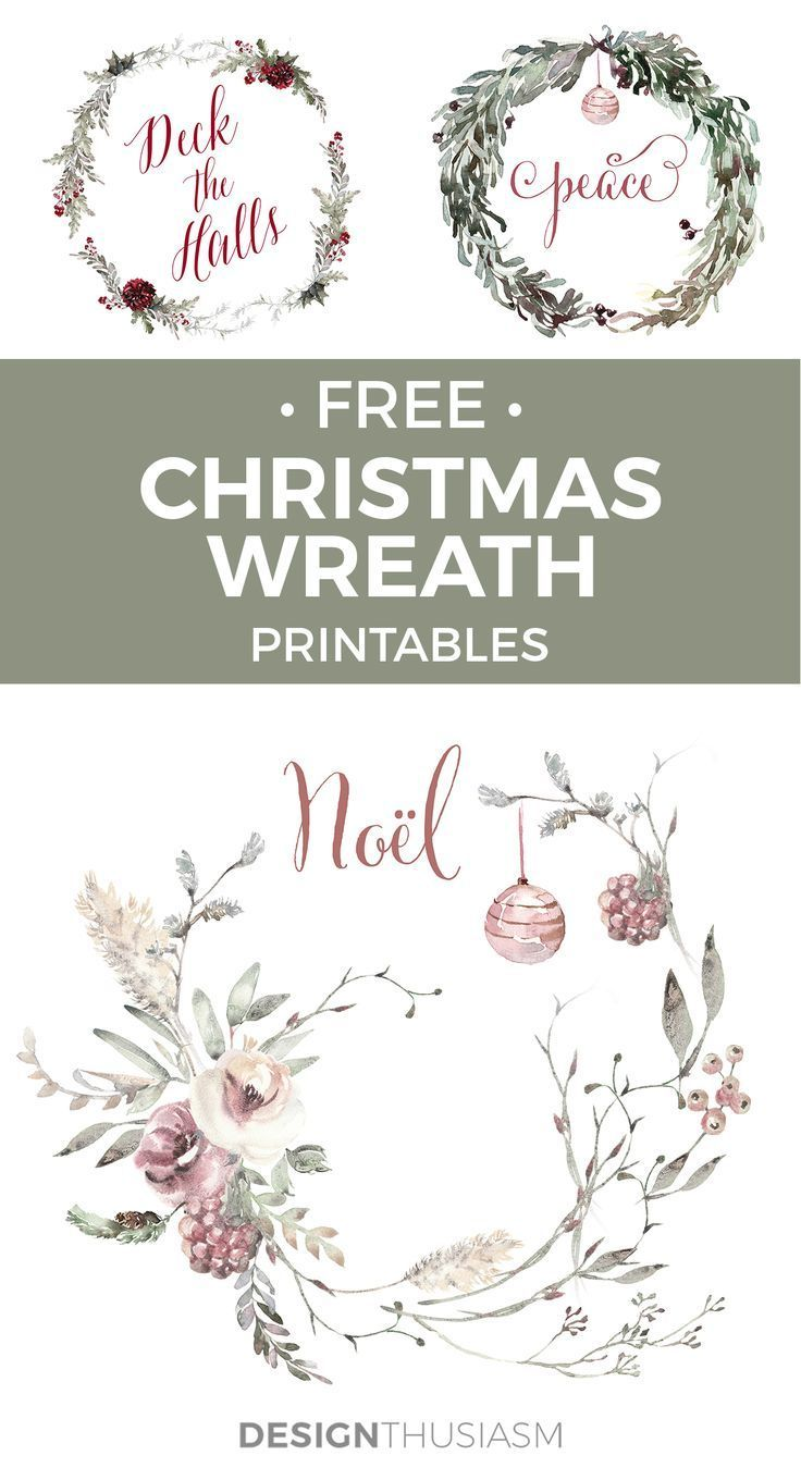 Photo of Romantic French Country Christmas Wreath Printable- Christmas Wreath …