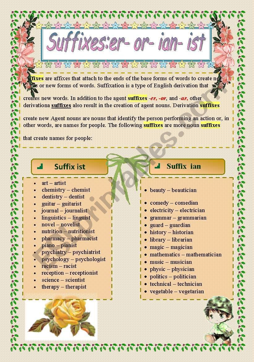 Suffixes Er Or Ist Ian Suffix Suffixes Worksheets Grammar Worksheets [ 1169 x 821 Pixel ]