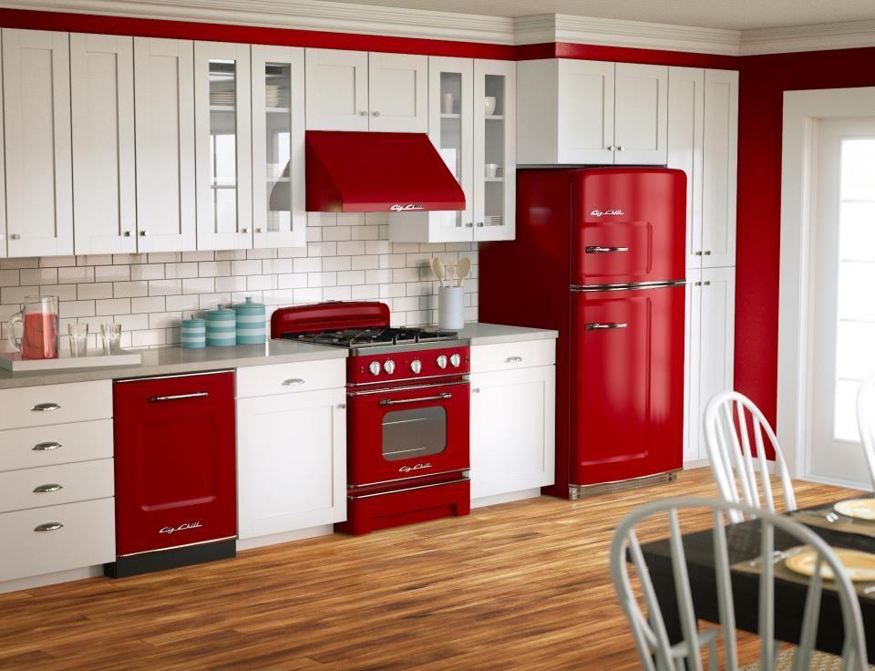 Red And White Big Chill Fridge Retro Kitchen Appliances