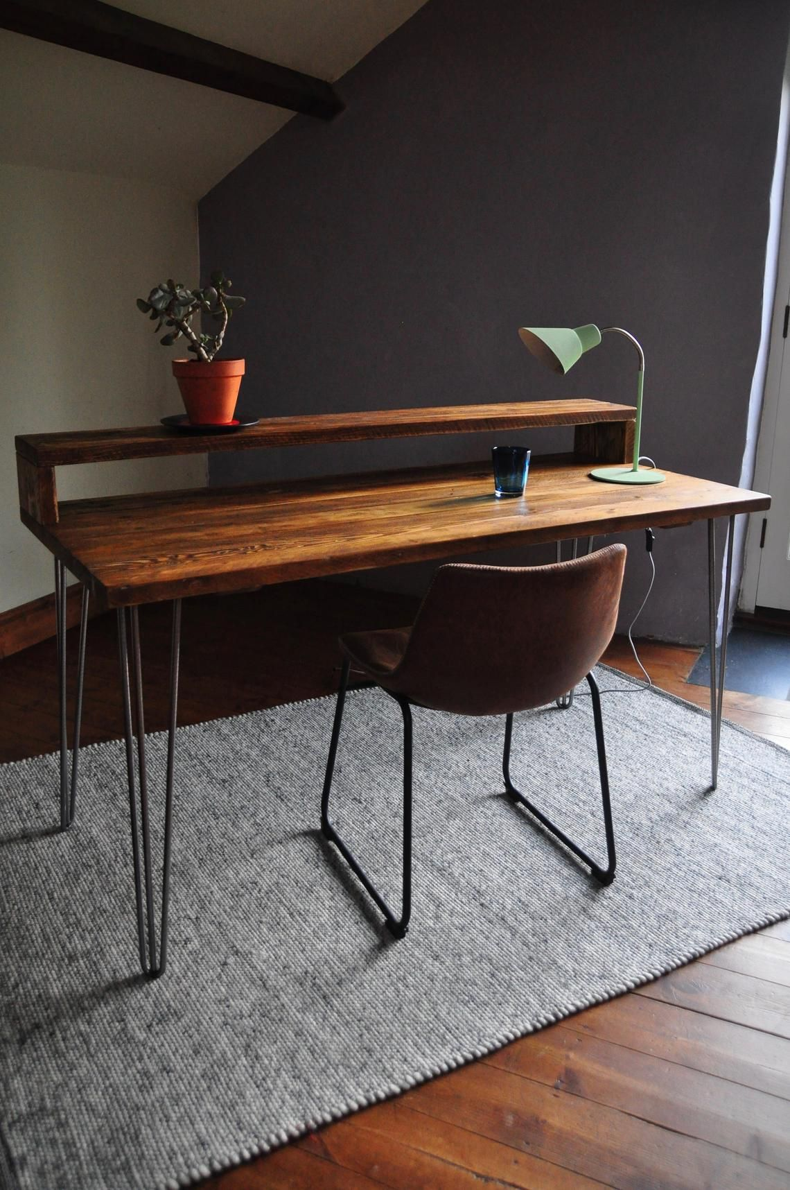 Industrial Desk With Monitor Stand Reclaimed Wood On Hairpin Legs