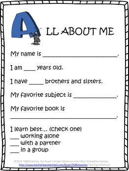 Free Printable First Day Of School Worksheets