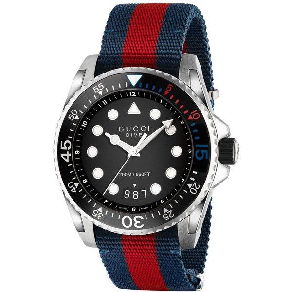 4413c4baf72 Gucci Men s Swiss Dive Blue-Red-Blue Nylon Nato Strap Watch 44mm... ( 990)  ❤ liked on Polyvore featuring men s fashion
