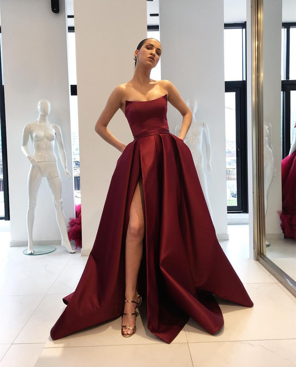 Burgundy strapless prom dress with slit promdress promgown