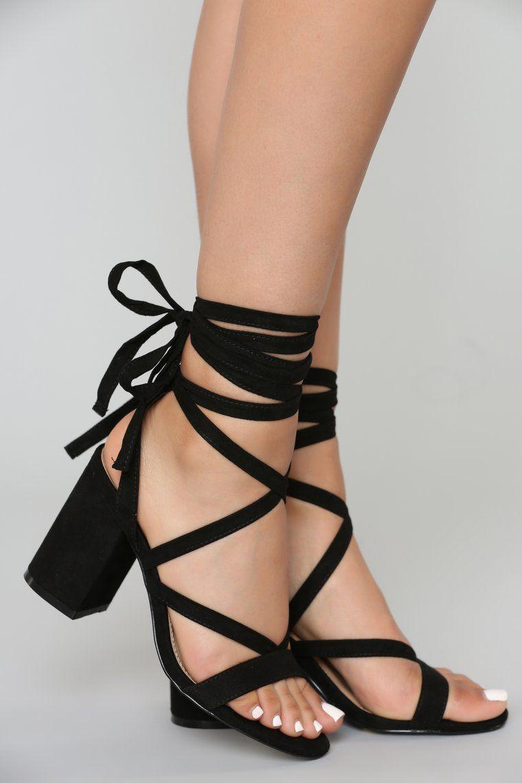 That Tie Up Heel Black in 2020 | Black lace up heels, Tie