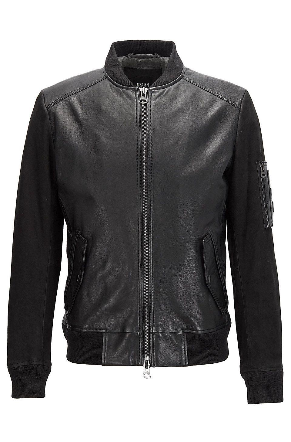 d0dd112c3 Sheepskin Leather Bomber Jacket | Jixx Black from BOSS Orange for Men for  $645.00 in the official HUGO BOSS Online Store free shipping