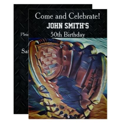 Mens Custom Vintage Baseball Birthday Invitations