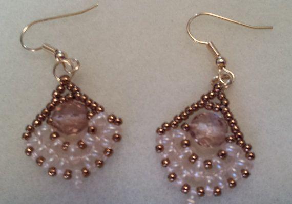 handmade beaded fan-shaped earrings in bronze beige by dbDabblings