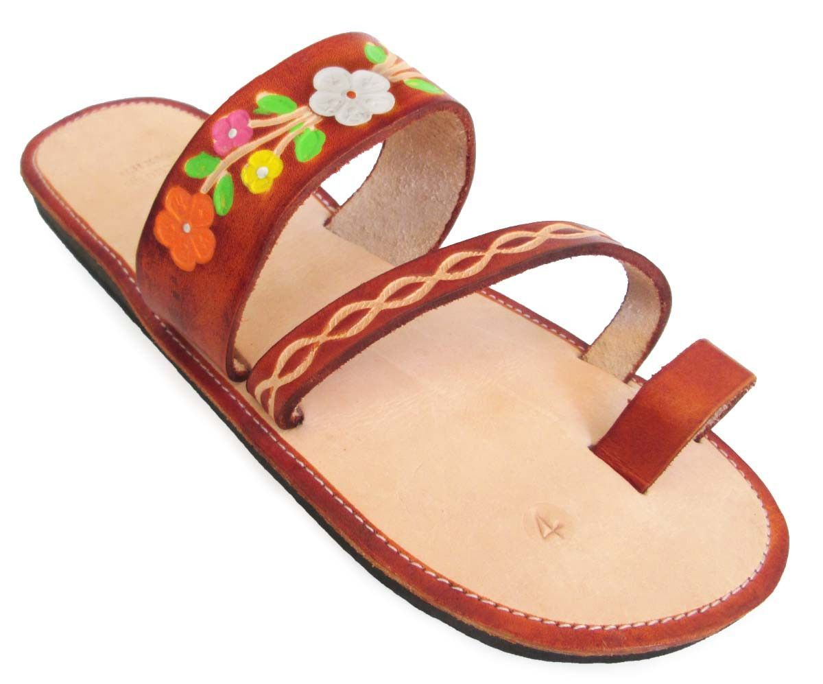 664f44a228b64f Women s Handmade Leather Mexican Sandal  Cafe floral