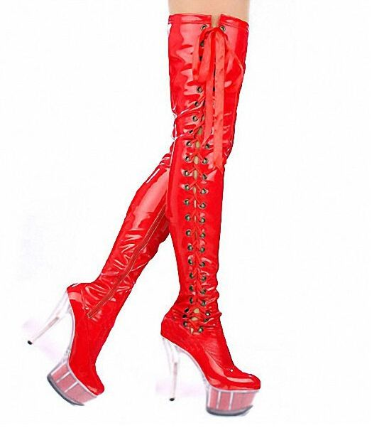0e27da65011 high-heeled shoes crystal cutout boots over-the-knee platform boots Thigh  High 6 inch lady strappy pole dancing boots