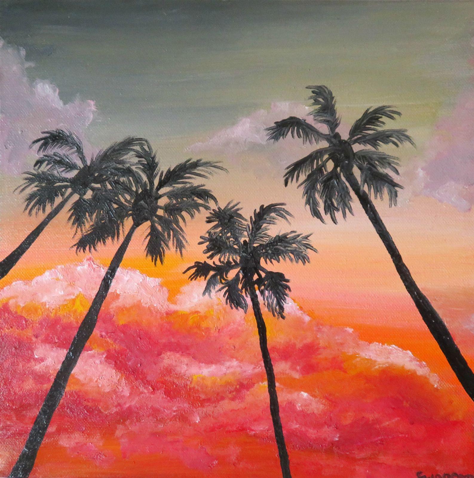 Palm Tree Painting Palm Tree Sunset Wall Art Original Palm Tree Artwork Tropical Home Decor Acrylic Beach Painting Sunset Art 10x10 In 2020 Palm Trees Painting Sunset Wall Art Palm Tree Artwork
