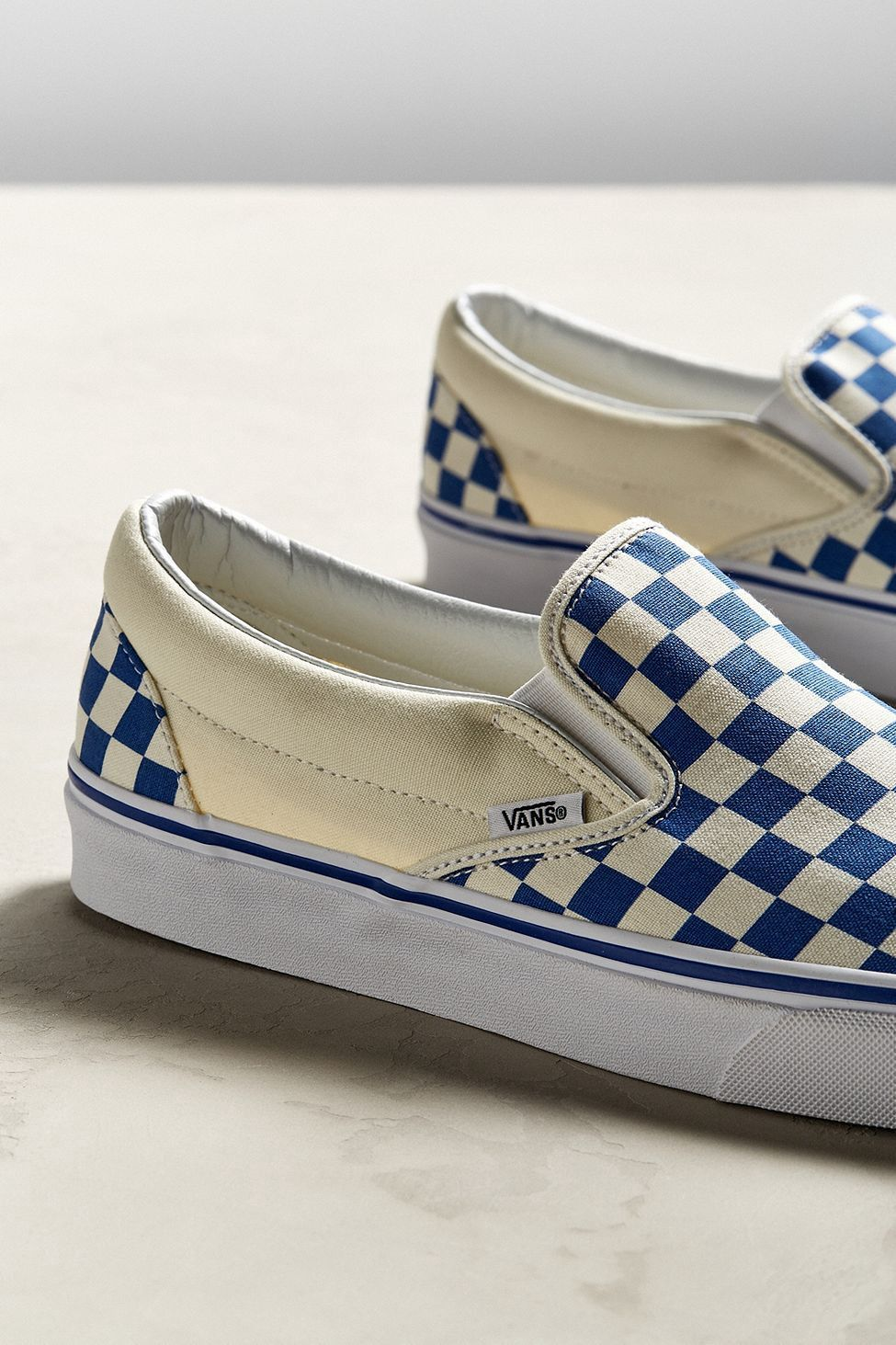 d9b992607c0 Urban Outfitters Vans Slip-On Checkerboard Sneaker - Blue M 13 W 14.5 One  Size