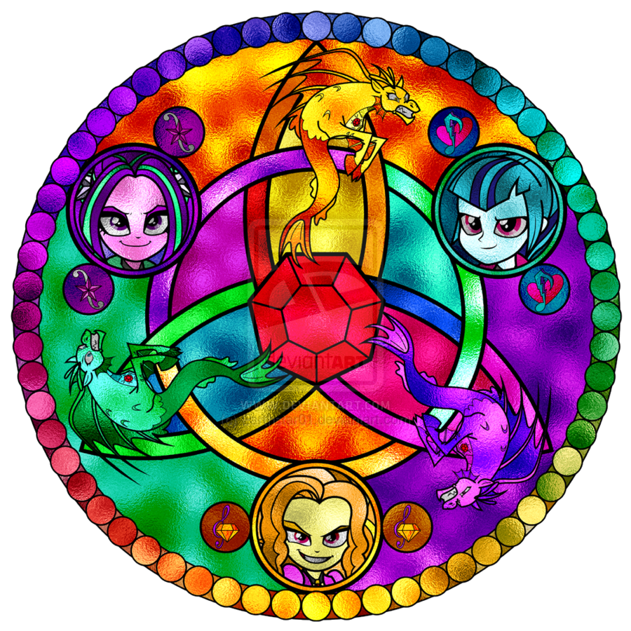 The Dazzlings Stained Glass Window By Earthstar01 Deviantart Com My Pony Equestria Rainbow Rocks Coloring Pages Dazzlings Printable