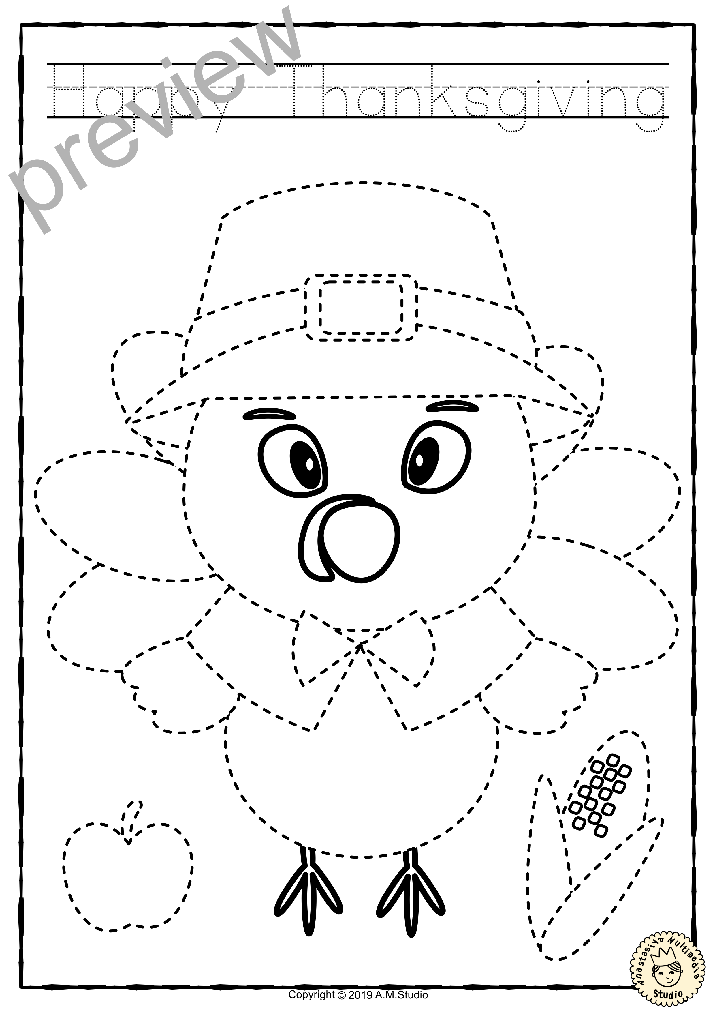 Thanksgiving Trace and Color Pages {Fine Motor Skills