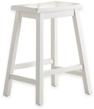 Terrific Wood Saddle 24 Inch Counter Stool In White Bathroom Stool Beatyapartments Chair Design Images Beatyapartmentscom