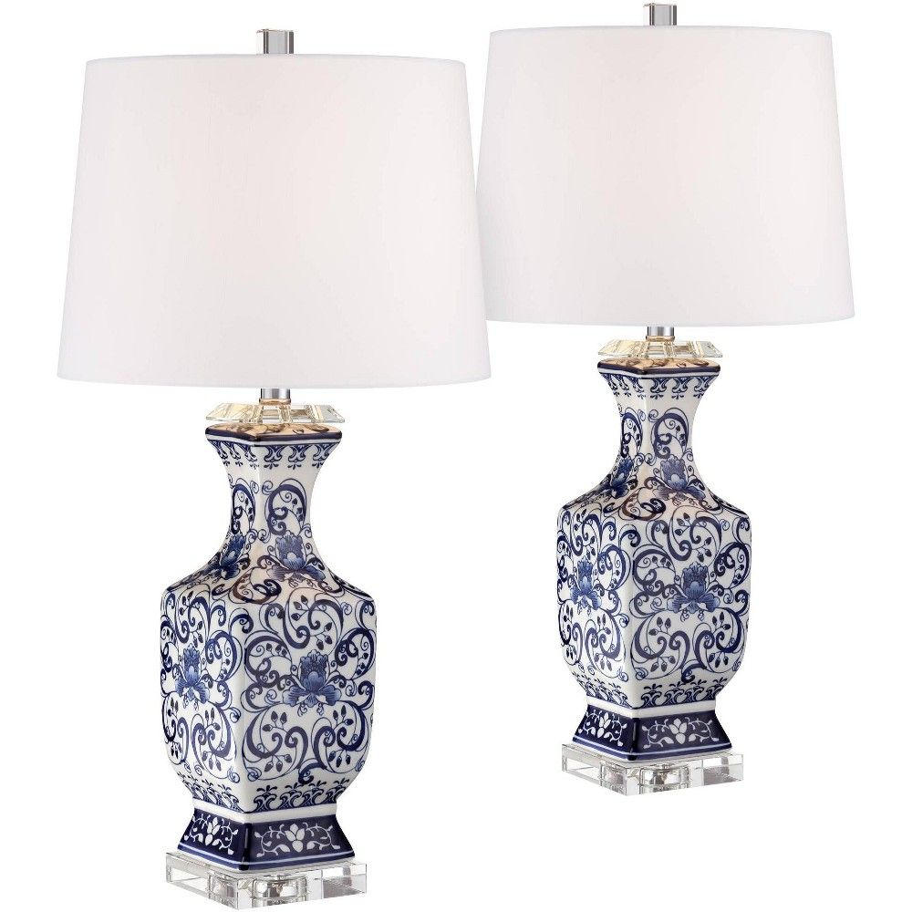Barnes And Ivy Asian Table Lamps Set Of 2 Porcelain Blue Floral Jar Geneva White Drum Shade For Living Room Family Bedroom Bedside In 2020 Table Lamp Sets Blue And White