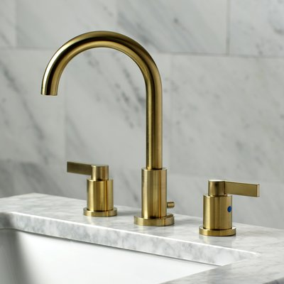 Nuvofusion Widespread Bathroom Faucet With Drain Assembly Bathroom Faucets Widespread Bathroom Faucet Brass Bathroom Faucets Satin brass bathroom faucet