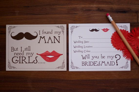 Will you be my bridesmaid cards Mustache and lips simplesimondesign ...