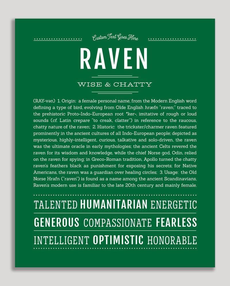 Raven   Classic Name Print in 2020   Classic names ...