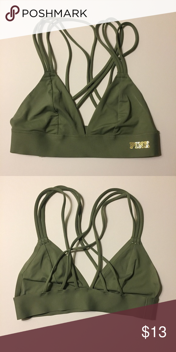 70b951c73fd4c Olive Green Strappy Pink Bralette I wish this still fit me! Super  comfortable and pretty olive green bralette. Works with any outfit!