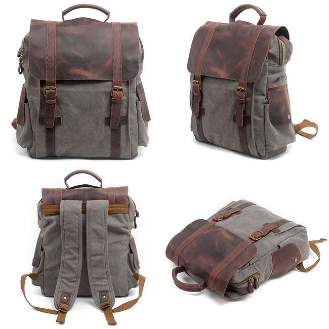 Unique Cowhide Leather Splicing Thick Canvas School Backpack Retro Handmade  Outdoor Large Rucksack cc30560841