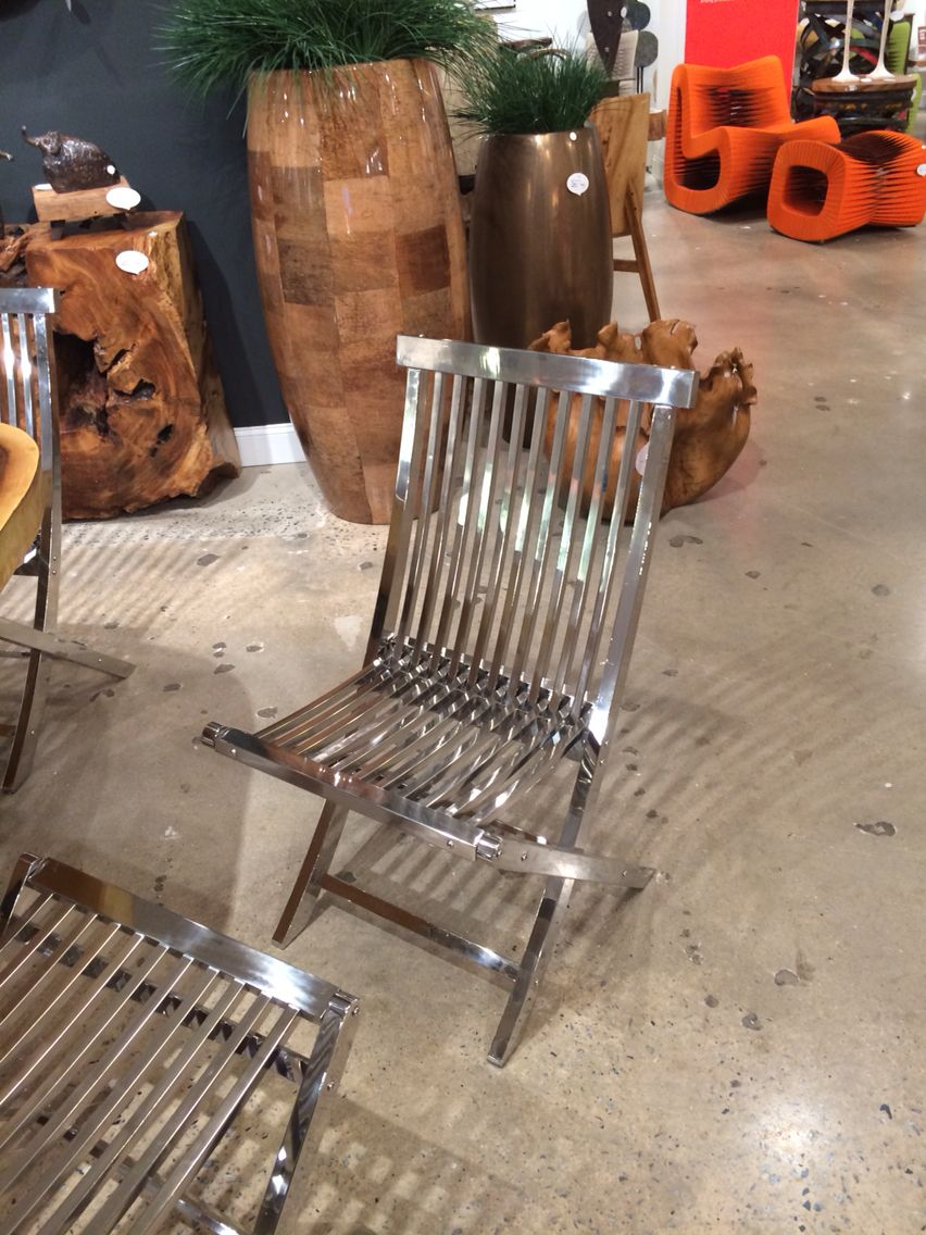 Slatted Stainless Steel Deck Chair Fabulous Phillips Collection