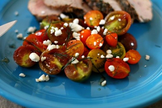 Grilled Tomatoes with Feta and Dill