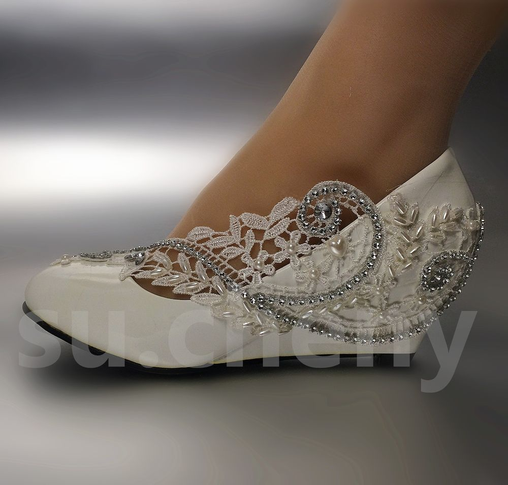 White ivory wedge pearls lace crystal Wedding shoes Bridal high ...
