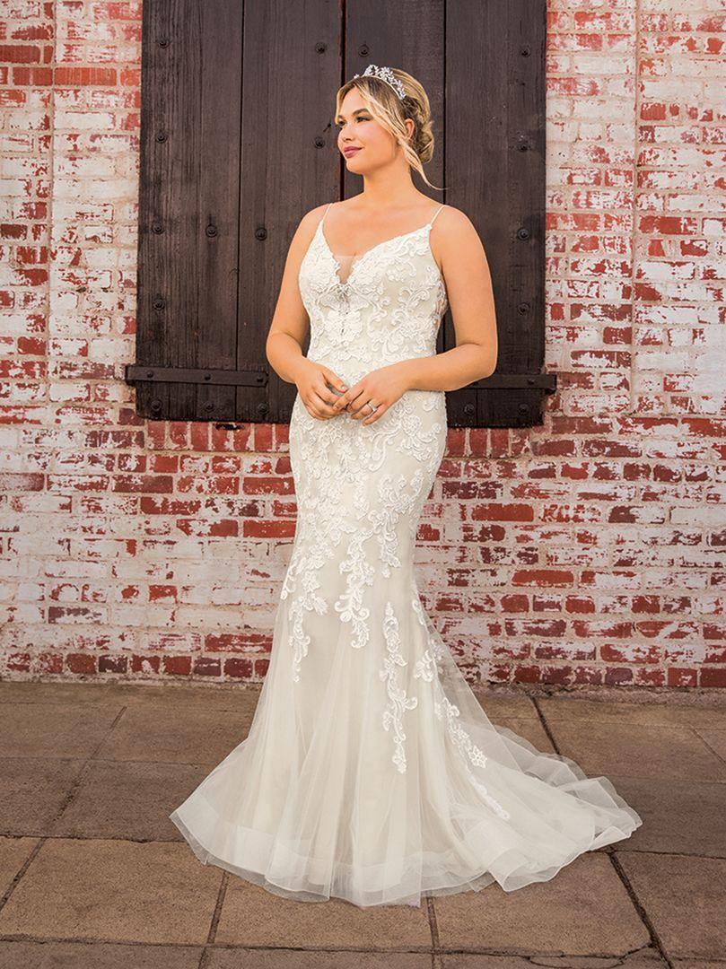 Style Bl282 Scarlett Plus Size Affordable Wedding Dress Seductive Scarlett Is A Fit And Flar Affordable Wedding Gown Wedding Dresses Wedding Dresses London