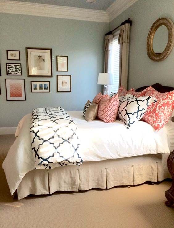 Superior Completed Linen, Navy, And Coral Bedroom | Bedroom Ideas | Pinterest | Coral  Bedroom, Linens And Bedrooms