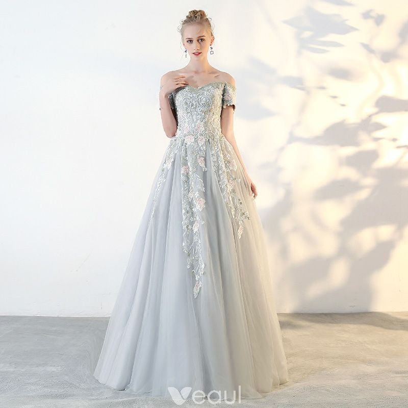 651525d0e29 Chic   Beautiful Sage Green Prom Dresses 2018 A-Line   Princess Lace Flower  Off-The-Shoulder Backless Short Sleeve Floor-Length   Long Formal Dresses