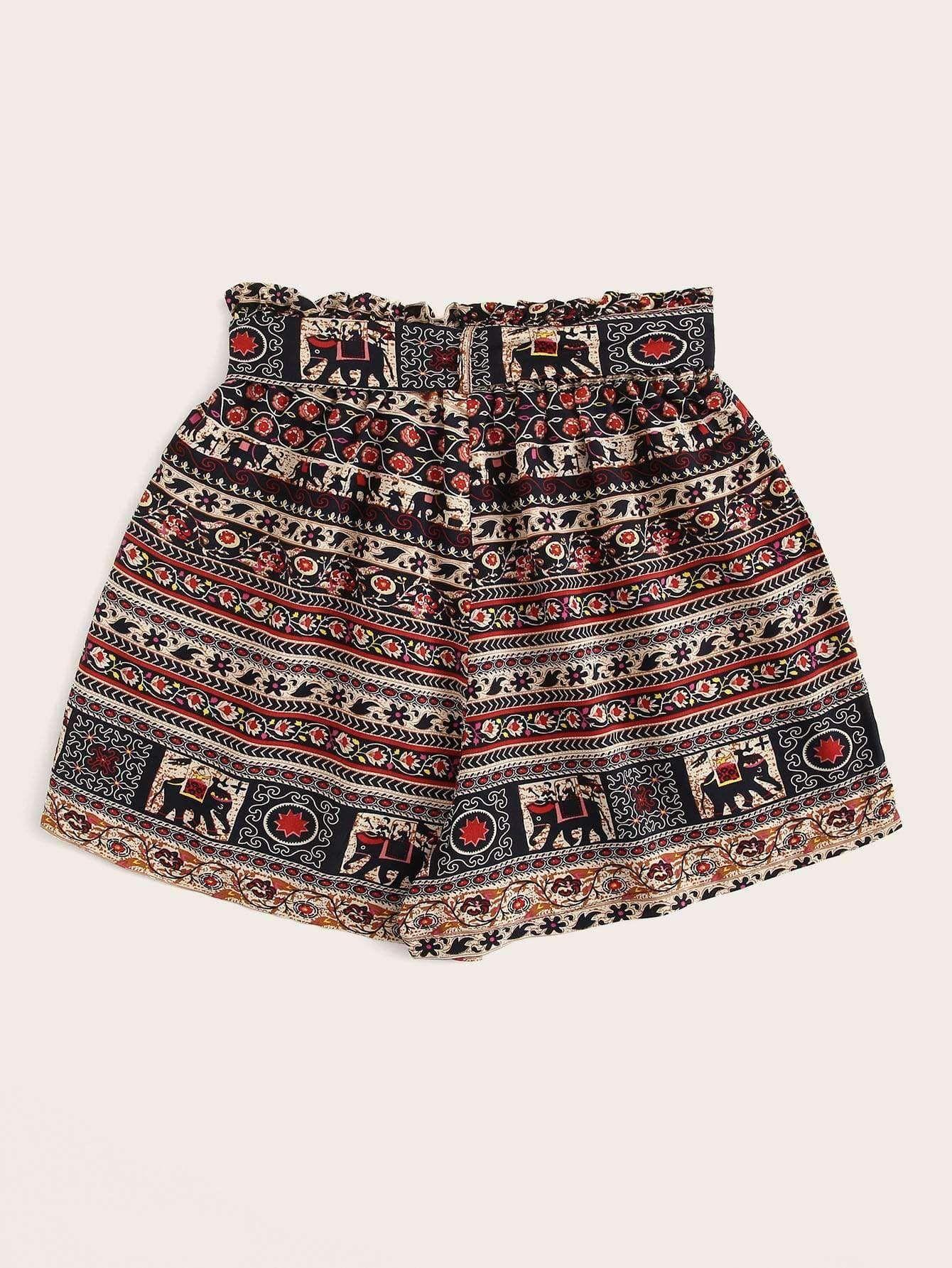 Fashionivo Aztec Print Self Tie Paperbag Shorts #aztec