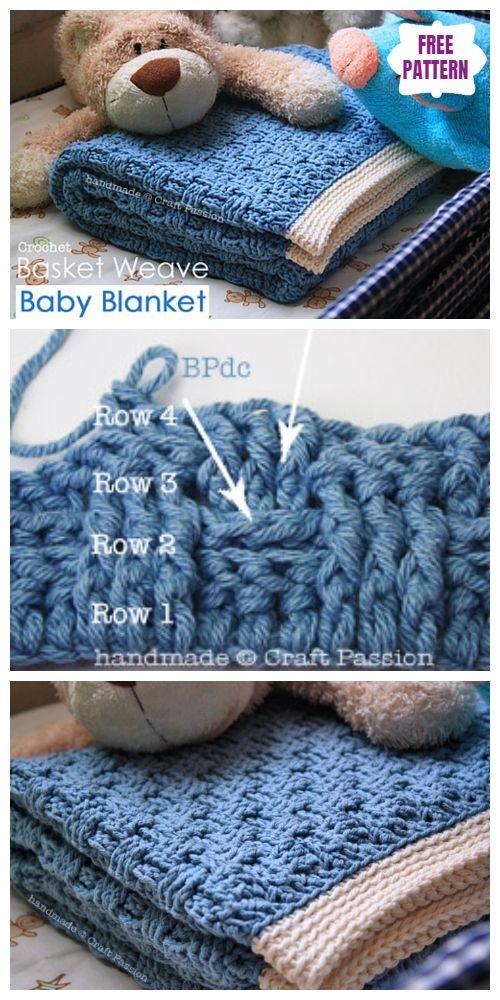 Crochet Basket Weave Baby Blanket Free Crochet Pattern #babyblanket