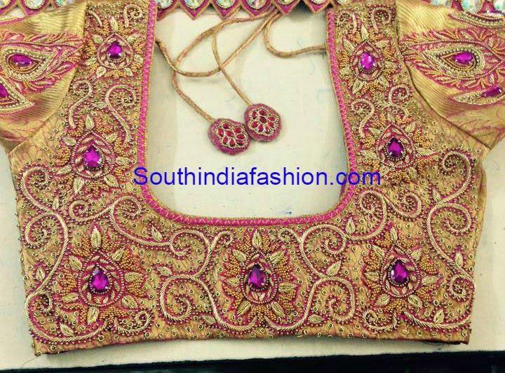 Beautiful wedding saree blouse featuring heavy zardosi