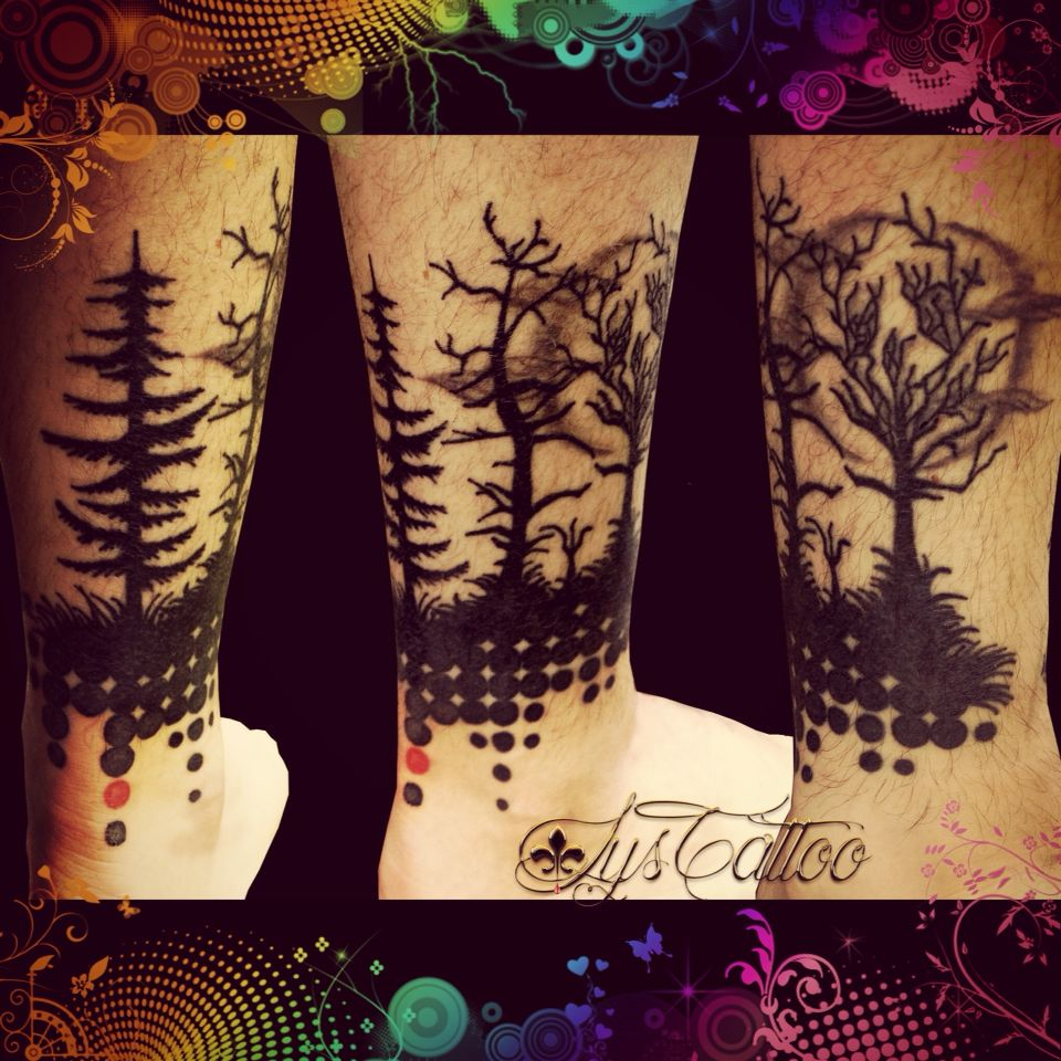 tattoo silhouettes arbres graphique for t nocturne lune t te de mort tatouage by lys tattoo. Black Bedroom Furniture Sets. Home Design Ideas