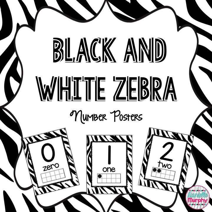 Zebra Print Decor Number Posters 0 to 20   Ten frames, Number number ...