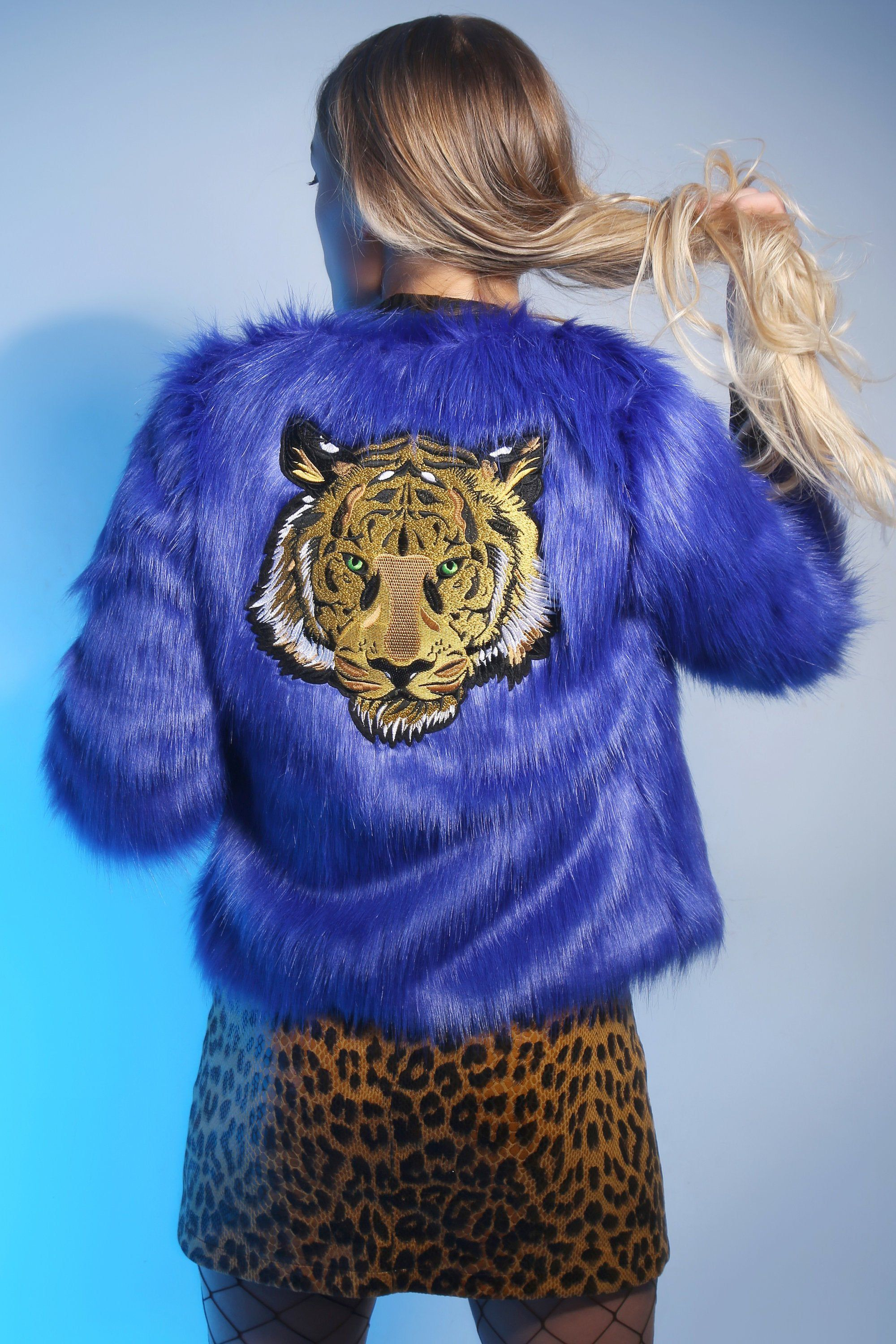 Embroidered Electric Blue Faux Fur Tiger Head Jacket Party