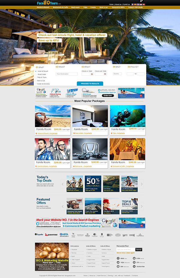 FacegoTours offers packages Hotels website design in Hurghada